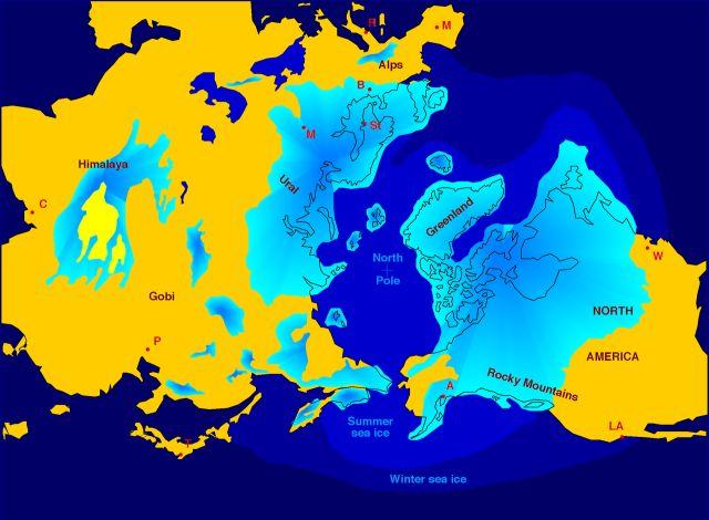 La distribuzione della calotta glaciale settentrionale