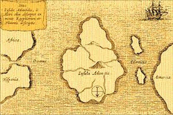 La mappa di Atlantide pubblicata da A. Kircher nel 1665 (con il nord verso il basso)