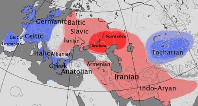 La Urheimat (rosso), gruppo satem (rosa), gruppo centum (blu)