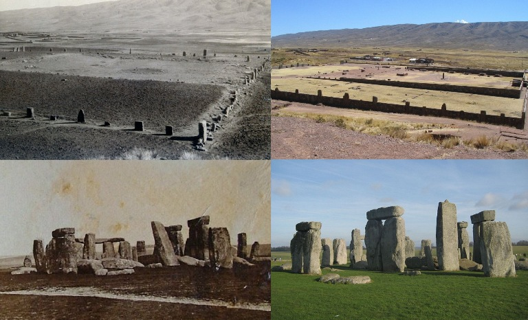 Sopra Tiahuanaco ieri e oggi, sotto Stonehenge ieri e oggi