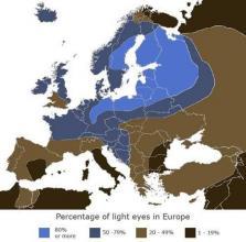 Mappa degli occhi chiari in Europa