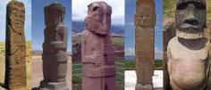 Le due statue di Tiahuanaco e quella di Puma Punku in Bolivia, Tula in Mesico e un Moai dell'Isola di Pasqua