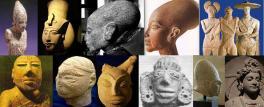 Quattro teste egizie, tre guerrieri dell'età del ferro: Capestrano. Glauberg e Hirschlanden, due teste statue di Mohenjo Daro, due di Harappa, una mesopotamica e una pakistana