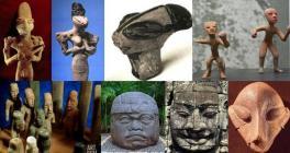 Tre statuette di Ubaid, statuette di Teotihuacan, statuette e grande testa di La Venta, Cambogia, Cultura Vinca nei Balcani