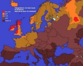 Mappa dei capelli rossi in Europa
