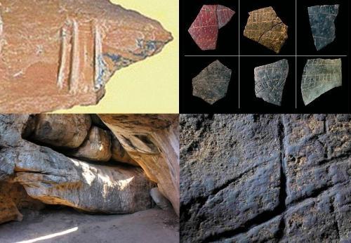 Incisioni su un osso fatte in Bulgaria 1,3 milioni di anni fa da Homo erectus, decorazioni realizzate 100 mila anni fa in Sudafrica dal Sapiens, l'idolo-serpente scolpito 70 mila anni fa nel Botswana, le incisioni di Gibilterra attribuite ai Neanderthal di 40 mila anni fa