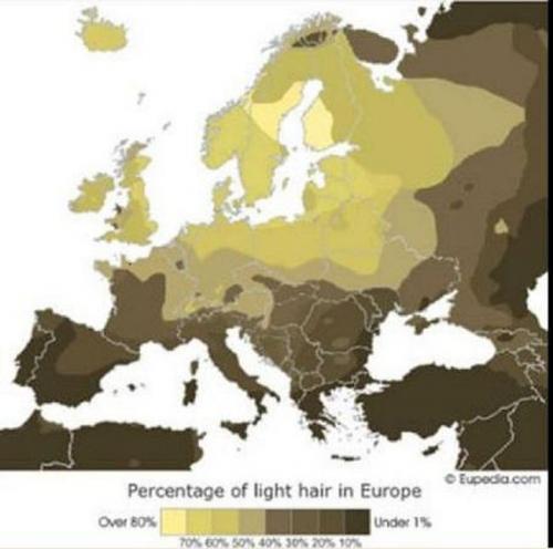 Mappa dei capelli biondi in Europa